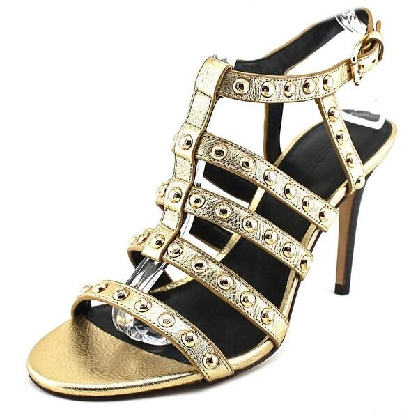 Coach Rose Metallic Tumbled Women Open Toe Leather Gold Sandals