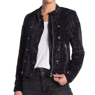 Link to Free People Women's Jacket Navy Blue Size XS Velvet Snap Button Zip Similar Items in Women's Outerwear