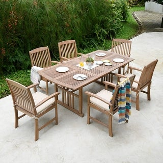 Link to Chignik Casual 7-piece Teak Patio Extendable Dining Set by Havenside Home Similar Items in Patio Furniture