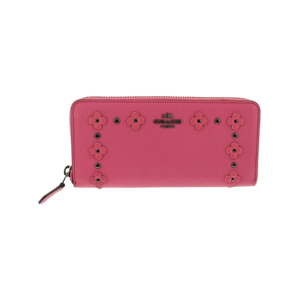 Coach Womens Zip Around Wallet Leather Pebbled - o/s