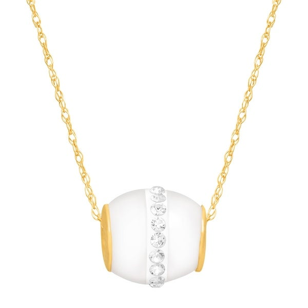 """Crystaluxe Freshwater Cultured Pearl Pendant with Swarovski Crystals in 14K Yellow Gold (10mm), 18"""""""