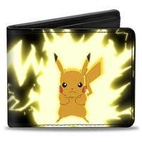 Pikachu Static Charge Pose + Pikachu! Black Yellows Bi Fold Wallet - One Size Fits most