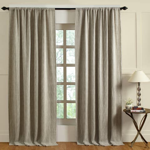 Cottage Home Preston Natural & Ivory Linen Curtain Panel