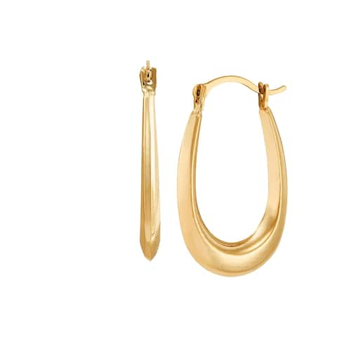 14K Gold Polished Oval Hoop Earrings - Yellow