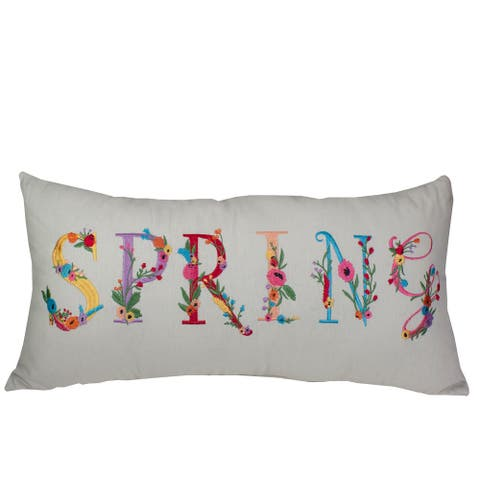 """23"""" Off White Spring Floral Embroidered Throw Pillow"""