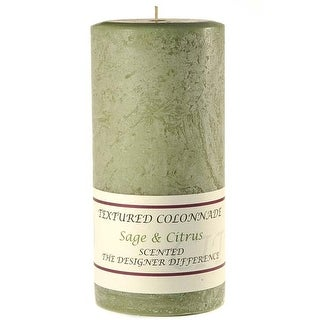 1 Pc Textured 3x6 Sage and Citrus Pillar Candles 3 in. diameterx6.25 in. tall