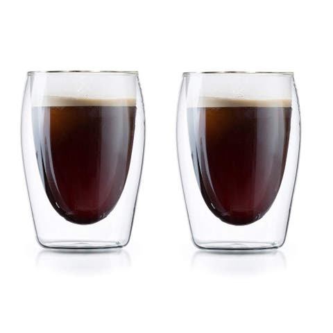 Medelco Cafe Brew Collection 6 Ounce Double Wall Glasses, Set of 2 Borosilicate Insulated Glass for Coffee/Tea