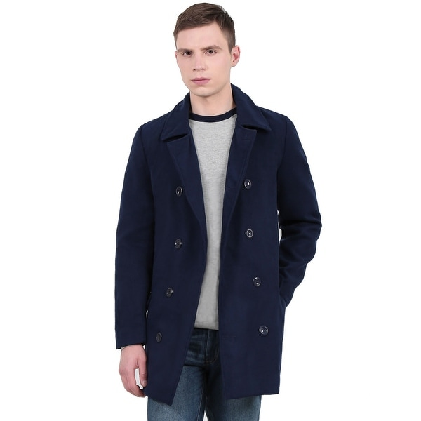 Unique Bargains Men's Long Sleeve Turn Down Collar Worsted Coat - Navy Blue. Opens flyout.
