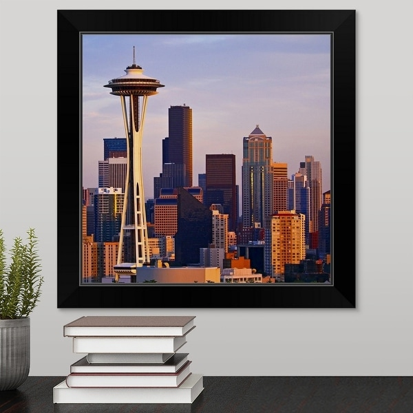 """The Space Needle at dusk in Seattle, Washington."" Black Framed Print"
