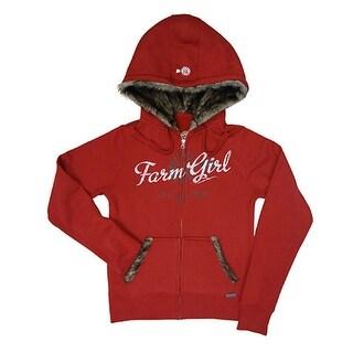 Farm Girl Western Sweatshirt Womens Faux Fur Windmill Red F23287010