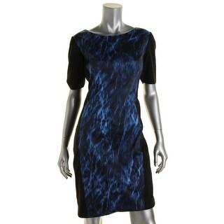 T Tahari Womens Printed Knee Length Wear to Work Dress