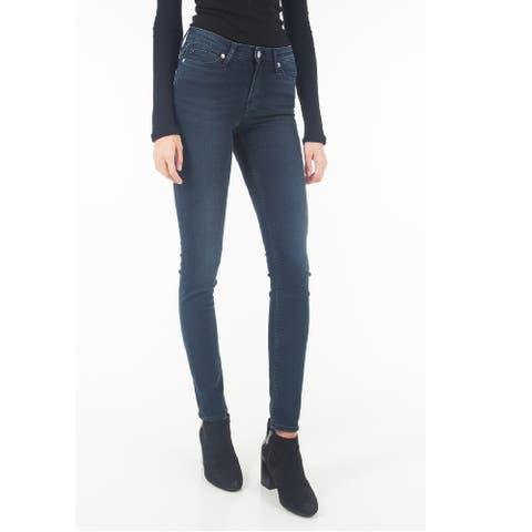 "Calvin Klein Women's Mid Rise Super Skinny Leg Centenal Blue Size 25"" x 30"" - 25"" x 30"""