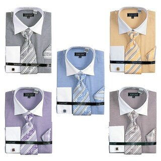 Men's Printed Two Tone French Cuff Shirt Cufflinks - 16.5 34-35