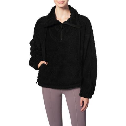 FP Movement Big Sky Women's Oversized Faux Fur High Neck 1/4 Zip Pullover Jacket