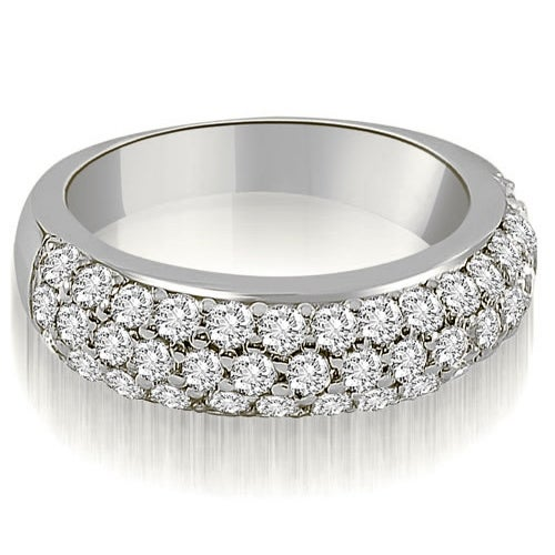 1.30 cttw. 14K White Gold Three Row Round Cut Diamond Wedding Ring