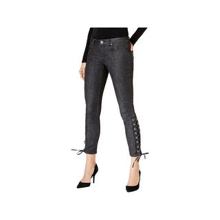 Michael Kors Womens Ankle Jeans Colored Wash Lace Up