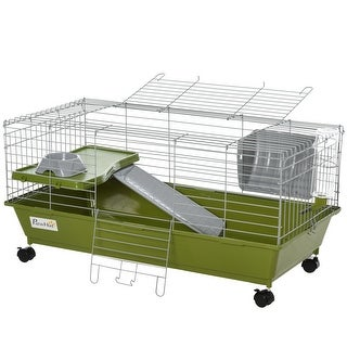 Link to PawHut Small Animal Cage Rabbit Chinchilla Guinea Pig Hutch Pet House with Platform, Ramp, Food Dish, Water Bottle, Hay Feeder Similar Items in Small Animal Cages & Habitats