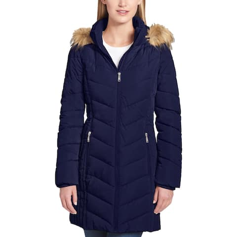 Tommy Hilfiger Womens Petites Puffer Coat Winter Cold Weather - Navy - PXL