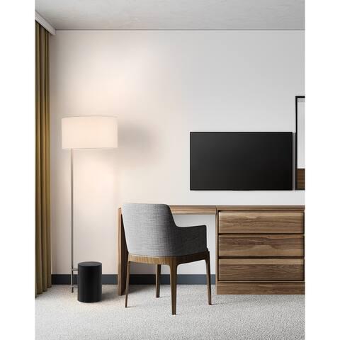 Palos Verdes Floor Lamp, Dark Brown & Brushed Nickel - Brushed Nickel
