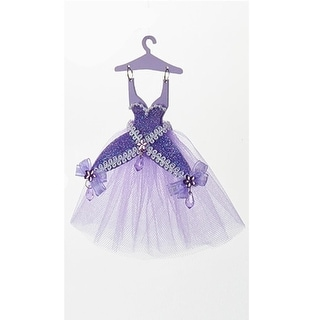 "7"" Decorative Lavender Fancy Dress on Hanger Hanging Christmas Ornament"