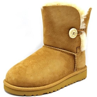 Ugg Australia Bailey Button Youth  Round Toe Suede Brown Winter Boot
