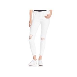 Frame Denim Womens Skinny Crop Jeans Mid-Rise Distressed