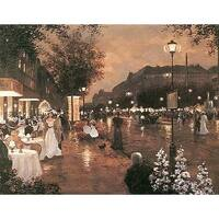 ''Evening Street Scene'' by Christa Kieffer Architecture Art Print (22 x 28 in.)