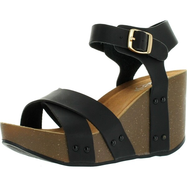 Refresh Mara-05 Womens Ankle Strap Comfort Criss Cross Platform Wedge Sandals