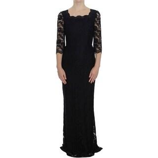 Dolce & Gabbana Dolce & Gabbana Black Floral Lace Long Ball Maxi Dress - it40-s
