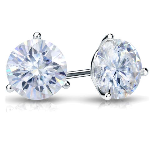 Auriya 4ctw Round Moissanite Stud Earrings 18k Gold Martini-set - 8.2 mm, Screw-Backs