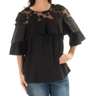 VINCE CAMUTO Womens New 1574 Black Lace Ruffled Kimono Sleeve Top S B+B