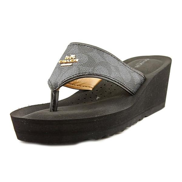 Coach Janice Women Open Toe Canvas Black Wedge Sandal