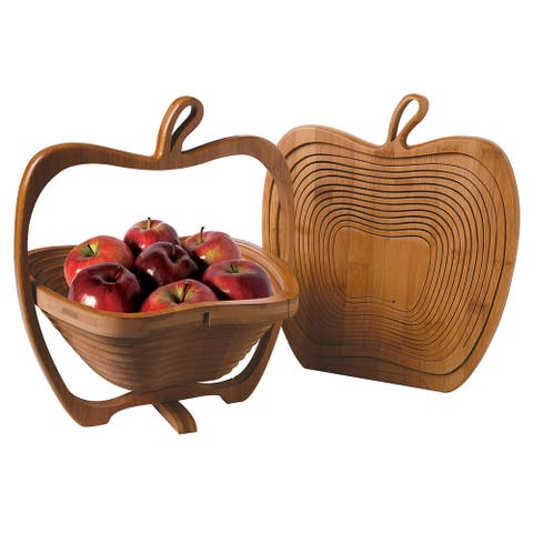 Collapsible Apple Shaped Bamboo Basket - Kitchen Fruit Centerpiece Bowl Decor - Brown - 10.5 in. x 11.75 in.