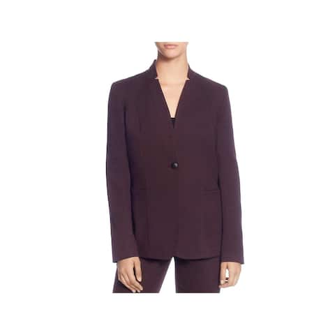 T Tahari Womens One-Button Blazer Printed Notch Neck
