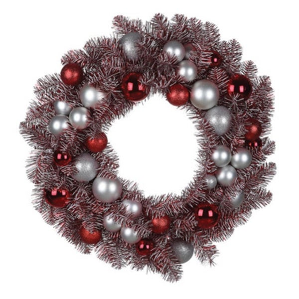 "29"" Artificial Red Peppermint Candy Colored Decorated Christmas Wreath- Unlit"