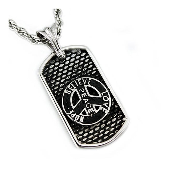 Stainless Steel Dog Tag Pendant - 24 inches