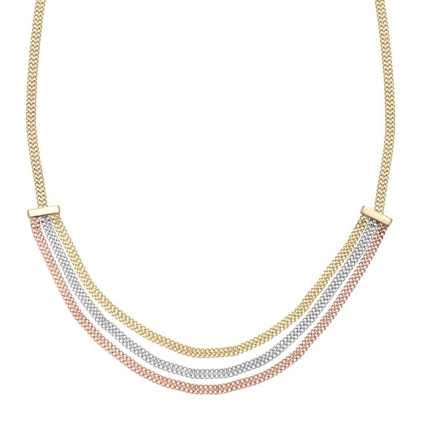 Just Gold Triple Strand Chain Necklace in 14K Three-Tone Gold