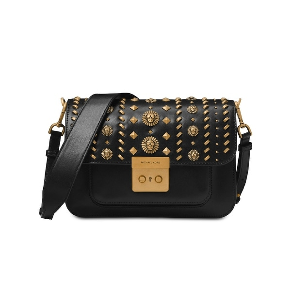 579a6a3812e6 MICHAEL Michael Kors Sloan Editor Leather Studded Shoulder Bag Black Gold -  One Size