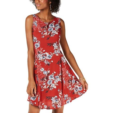 Be Bop Womens Juniors Skater Dress Floral Sleeveless - XS