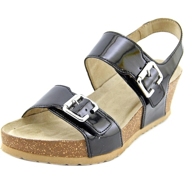 White Mountain Marquel Women Open Toe Synthetic Black Wedge Sandal