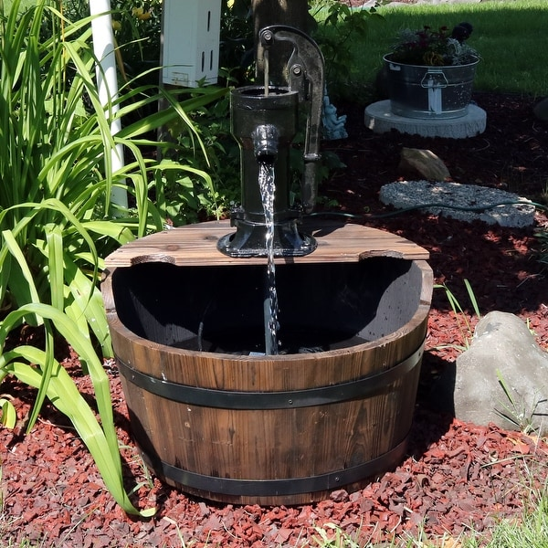 Sunnydaze Old Fashioned Wood Bin Outdoor Fountain with Water Tap - 28 Inch Tall