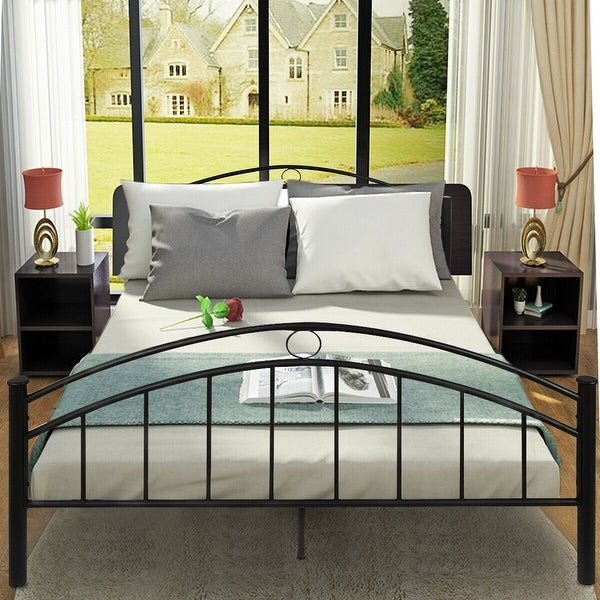 Shop Costway Black Queen Size Metal Bed Frame Mattress