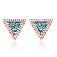 Triangle Shaped 0.53ct G-H/SI1 IceBlue Color Diamond with Natural Diamond Push Back Earring - White G-H