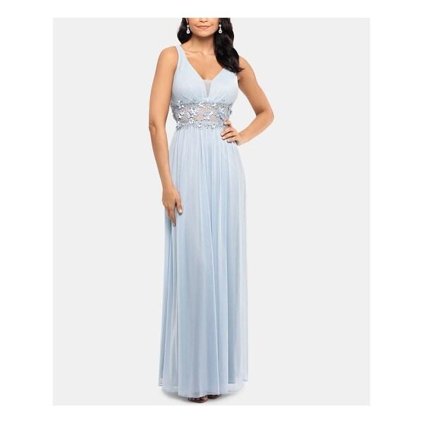 BETSY & ADAM Light Blue Sleeveless Full-Length Dress Size 4