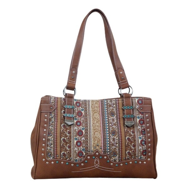 Way West Western Handbag Womens Briar Vintage Satchel Brown 1696495 - 14 x 6 1/2 x 1014 x 6 1/2 x 10