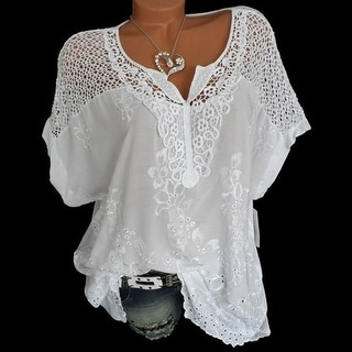 2019 Women's Lace V-Neck Embroidered Short Sleeve Bat Shirt