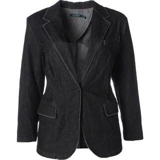 Lauren Ralph Lauren Womens Plus Angona One-Button Blazer Denim Stretch