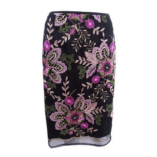 Tahari ASL Women's Petite Embroidered Mesh Pencil Skirt (2P, Black/Pink/Fuchsia) - black/pink/fuchsia - 2p