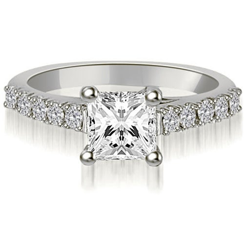 1.00 cttw. 14K White Gold Princess And Round Diamond Engagement Ring