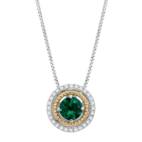 3/4 ct Created Emerald Pendant with Diamonds in Sterling Silver & 14K Gold - Green